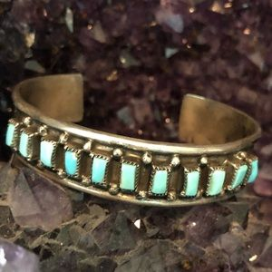 Vintage authentic turquoise silver cuff